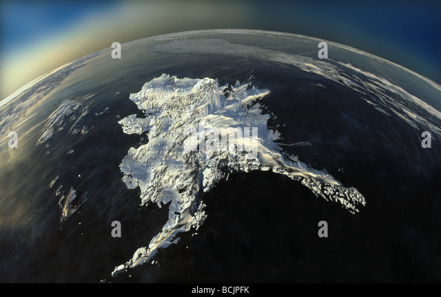 COMPOSITE Satellite view of Alaska Digital Image COMPOSITE - Stock Image