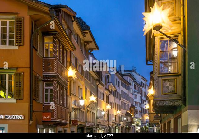 Augustinergasse, christmas illumination, Zurich, Switzerland - Stock Image