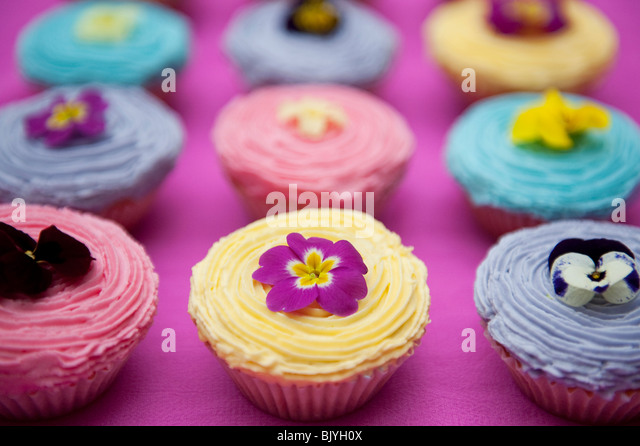 Colourful cupcakes and edible spring flowers - Stock-Bilder