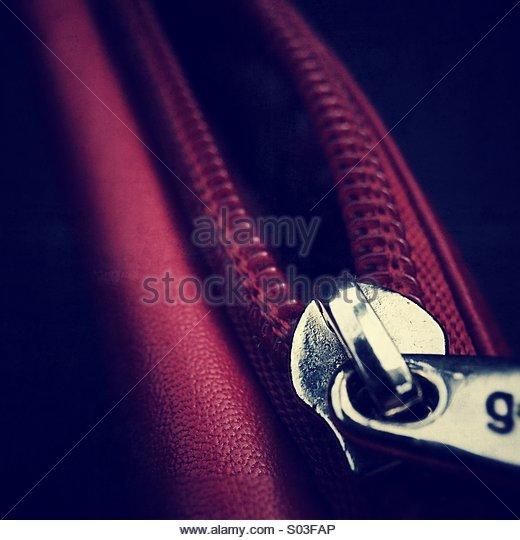Close Up of Zip - Stock Image