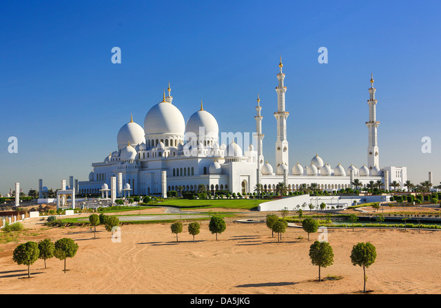 United Arab Emirates, UAE, Middle East, Abu Dhabi, City, Sheikh Zayed, Mosque, Mosque, Zayed, architecture, dome, - Stock Image