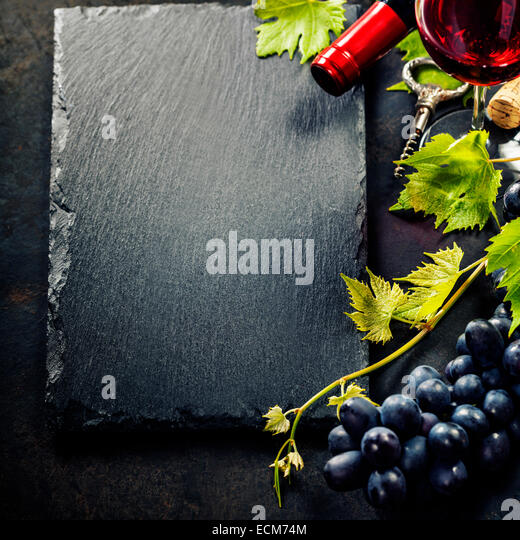 Food background with Wine and Grape. Lots of copy space. - Stock Image