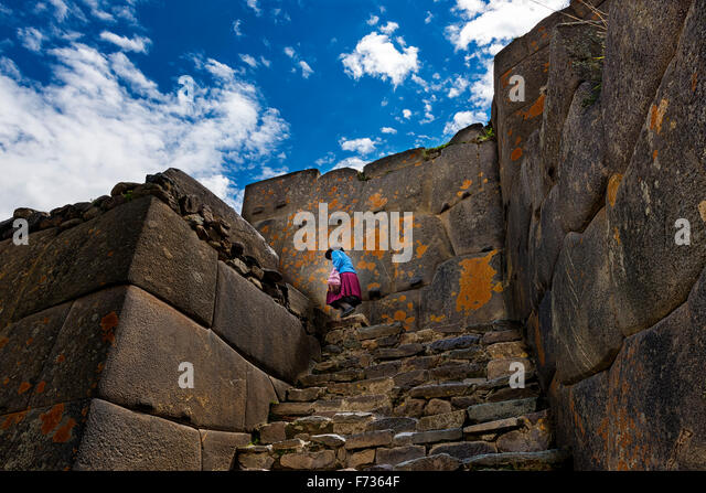 Ollantaytambo ruins, in the Sacred Valley, Peru - Stock Image
