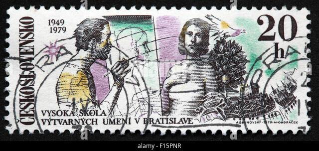 Ceskoslovensko 1949 1979 Vysoka Skola Vytvarnych umeni v Bratislave 20h Stamp - Stock Image