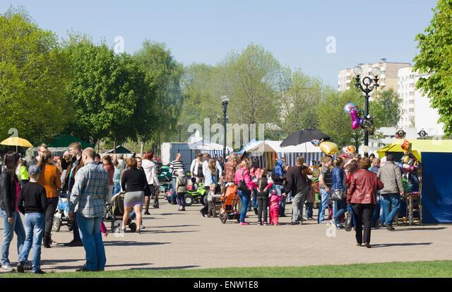 9 May 2015; Belarus, Borisov: Illustration Parade of Victory Day in Borisov. People go for parade in honor of a - Stock-Bilder