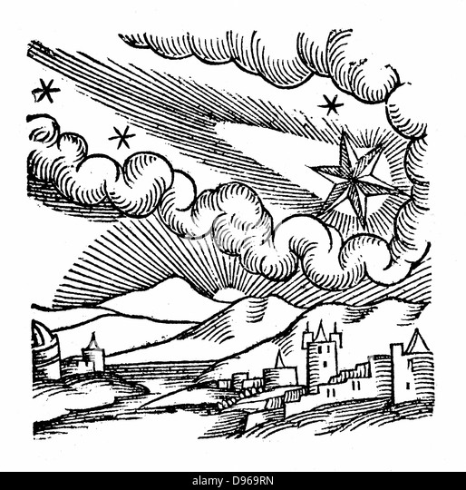 Comet of 1546 (Halley). At this appearance the comet was excommunicated by Pope Calixtus III. From Conrad Lycosthenes - Stock Image