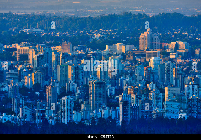 High angle view of a city, Stanley Park, Vancouver, British Columbia, Canada - Stock Image