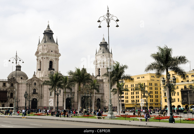 Plaza de Armas city centre Lima Peru - Stock Image