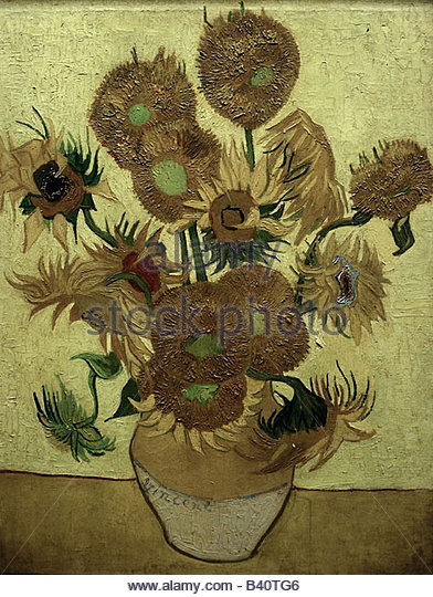fine arts, Gogh, Vincent van (1853 - 1890), painting, 'Fourteen sunflowers in a vase', 1889, oil on canvas, - Stock Image