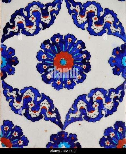 Iznik tile of the Rüstem Paşa Camii, Istanbul, Turkey 130910_30971 - Stock Image
