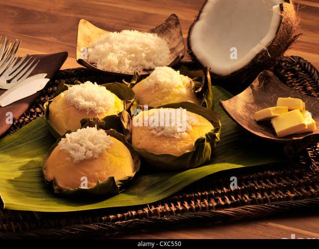 Bibinka, a filipno snack of rice and coconut pudding, Philippines, Southeast Asia, Asia - Stock Image