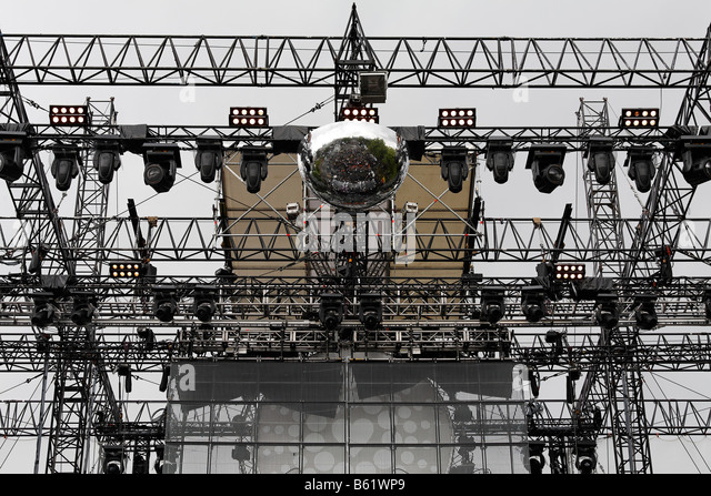 Gigantic stage construction of the closing ceremony, Loveparade 2008, Dortmund, Ruhr district, North Rhine-Westphalia, - Stock Image