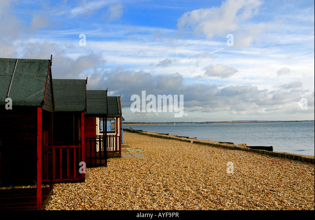 Beach huts Calshot Hampshire U K - Stock Image