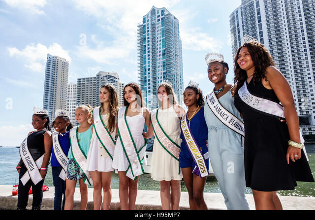Florida Miami Downtown Miami Riverwalk Festival beauty contest winners Miss Jamaica Florida Orange Bowl Queen - Stock Image