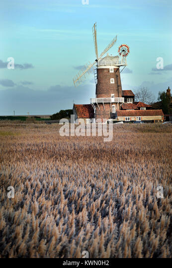 cley windmill cley norfolk england - Stock Image