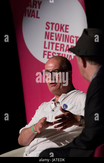 David Quantick member of the writing team on Veep and author of The Mule on stage at the Stoke Newington Literary - Stock Image
