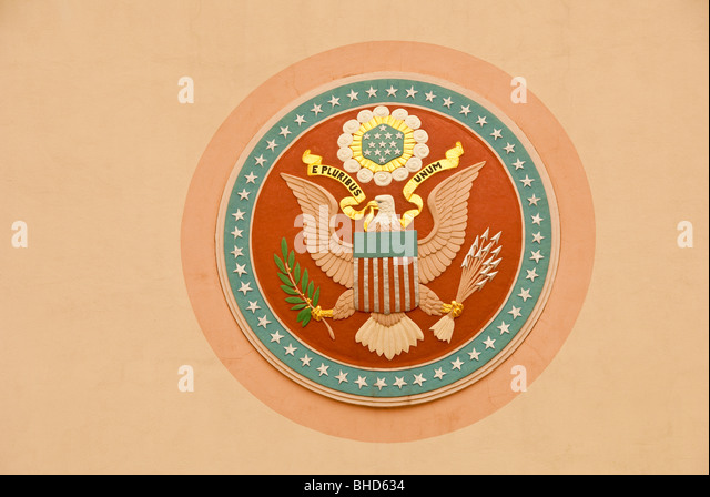 Great Seal of the United States of America on wall of Tower Building in Fair Park, Dallas, Texas - Stock Image