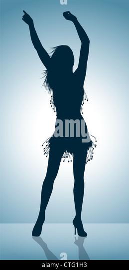 dancing girl silhouette - Stock Image