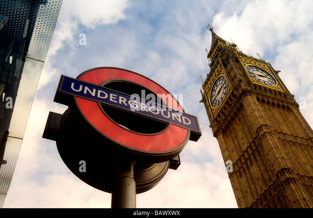 Public Transport sign with Big Ben in the background - Stock Image