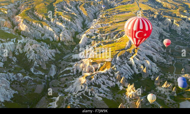 Cappadocia - Turkey, view from the balloon around Nevsehir, flying over Cappadocia in Hot-air balloon, UNESCO - Stock Image