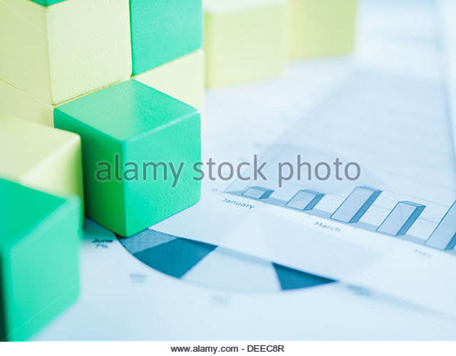 Blocks on paper charts - Stock Image