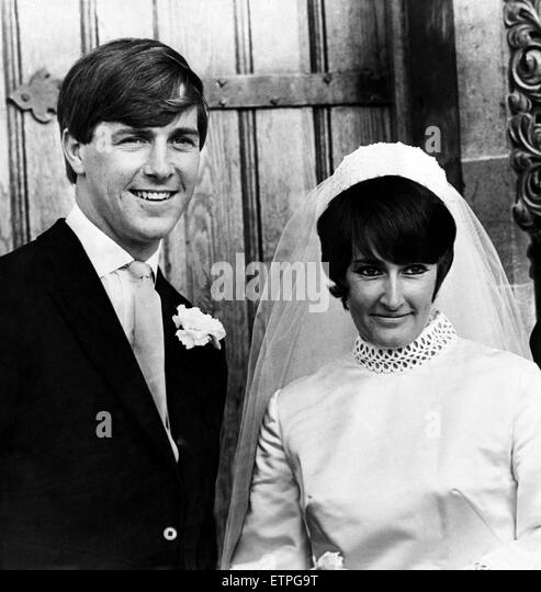 Barry John, (a Welsh rugby union fly-half) and Janet Talfan Davies on their wedding day, 28th September 1969. - Stock Image
