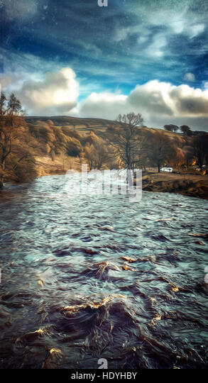 violent water in river - Stock Image