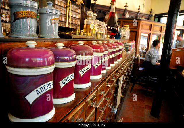 Blists Hill, Chemist shop at Blists Hill, Victorian Town or Village, Ironbridge, Shropshire. Britain UK - Stock Image