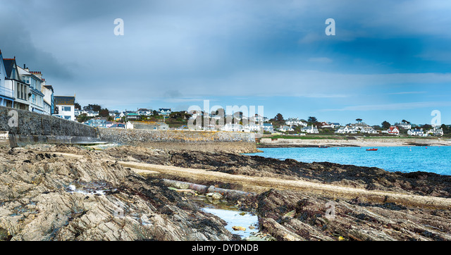 The seaside town of St Mawes opposite Falmouth on the Roseland Peninsula - Stock Image