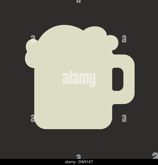 Stylized silhouette of glass mug with green beer and foam - Stock Image