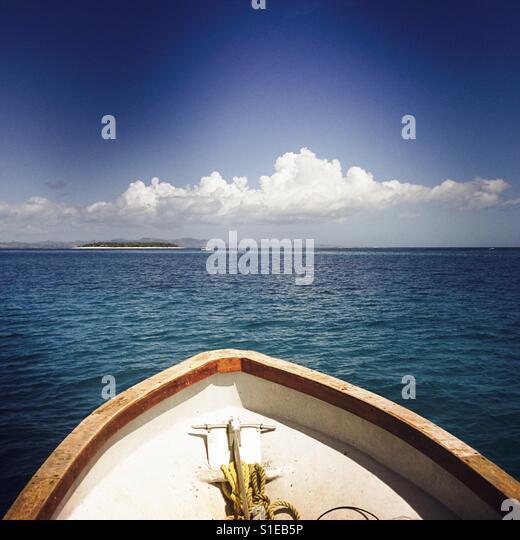 On a boat looking at Namotu Island. Nadi, Fiji. - Stock Image