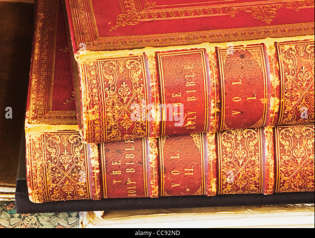 spines of two volume leather bound bible - Stock Image