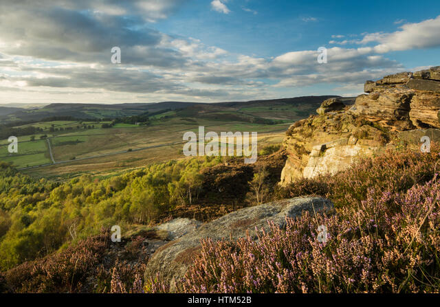 Callow Bank & Stanage Edge from Millstone Edge, nr Hathersage, Derbyshire Peaks District National Park, England, - Stock-Bilder