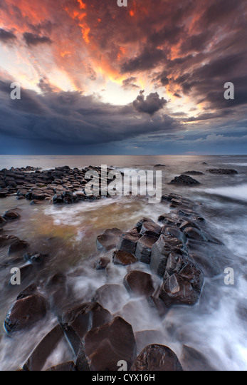 The Giants Causeway at dusk. Northern Ireland. - Stock-Bilder