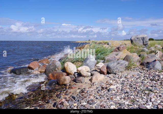 Kihnu coastline. Island Kihnu, Estonia, Baltic States, 5th August 2017 - Stock Image