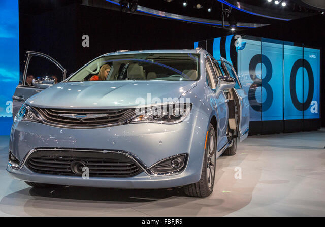 Detroit, Michigan - The 2017 Chrysler Pacifica hybrid gas-electric minivan on display at the Detroit auto show. - Stock Image