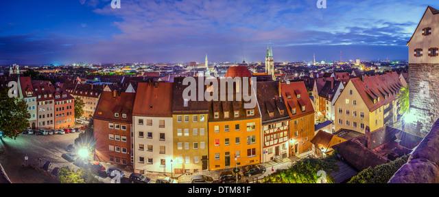Nuremberg, Germany old city panorama. - Stock Image