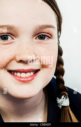 Girl with plaits - Stock Image