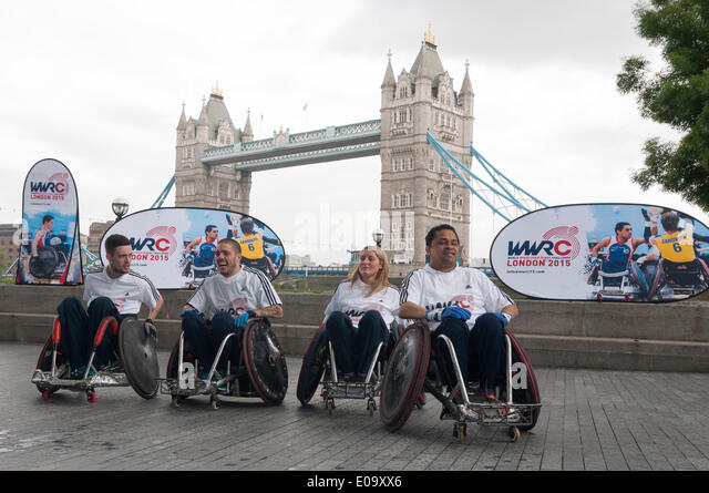 London, UK, 7 May 2014 - Boris Johnson, Mayor of London, launches the inaugural launch World Wheelchair Rugby Challenge - Stock Image