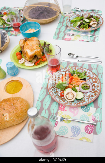 High angle view of a table setting - Stock-Bilder