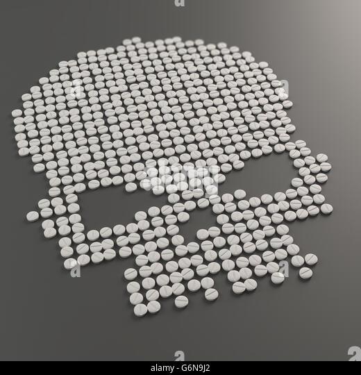 Pills forming a skull symbol - drug abuse concept 3D illustration - Stock-Bilder