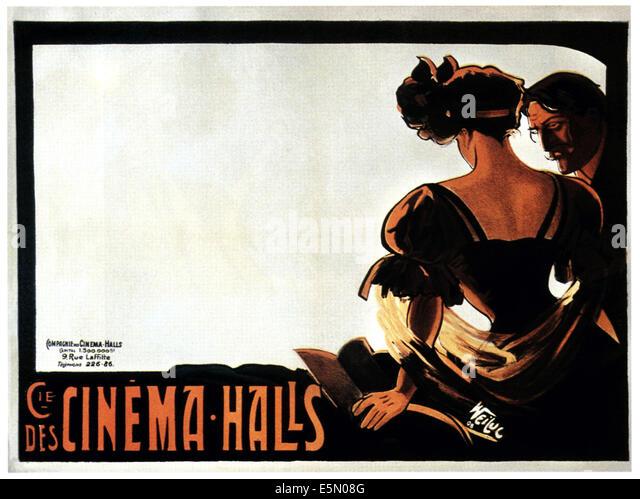 CIE DE CINEMA-HALLS, promotional French poster art ca. 1908 - Stock Image