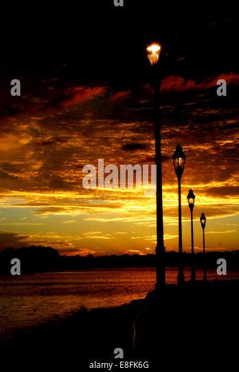 USA, Florida, Orange County, Orlando, Sunset along walk way - Stock Image