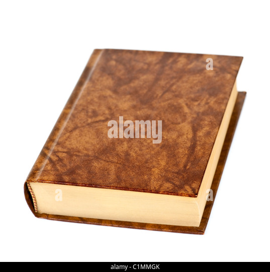 Old blank hardcover leather bound book isolated on white background - Stock Image