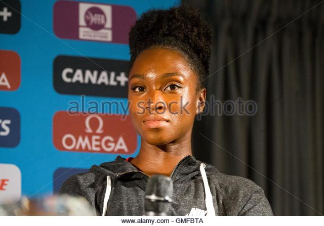 Paris, France. 26th Aug, 2016. American track and field athlete Tianna Bartoletta takes part in a press conference - Stock Image
