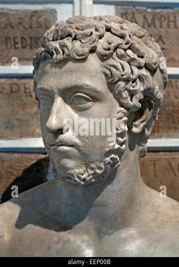Male bust, Hadrian, 117-138 AD Hadrianic period Roman Rome Capitoline Museum Italy Italian - Stock Image