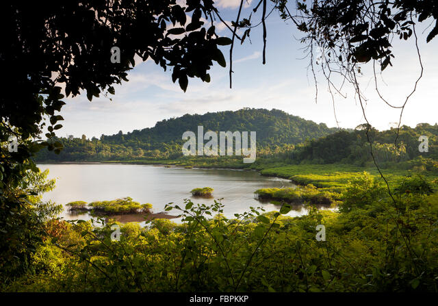 Evening sunlight at Coiba national park, Pacific ocean, Veraguas province, Republic of Panama. - Stock-Bilder