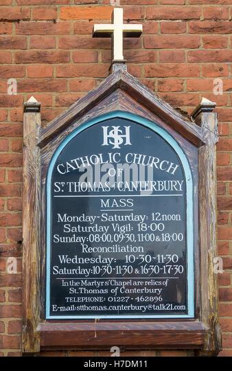 Catholic Church of St Thomas of Canterbury Church Sign - Stock-Bilder