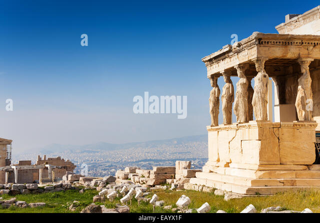 Beautiful view of Erechtheion in Athens, Greece - Stock Image