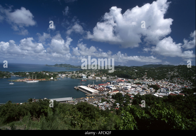 West Indies St. Lucia Castries Port Castries Harbour Morne Fortune view - Stock Image